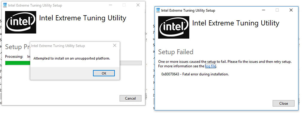 Workaround: XTU - attempted to install on an unsupported